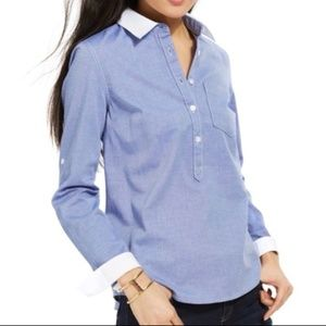 Tommy Hilfiger Blue Pull Over Half Buttoned Shirt